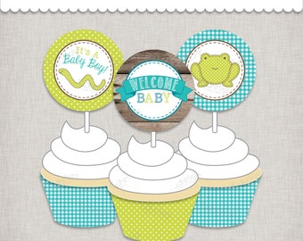 Boy Baby Shower Cupcake Topper Printable Instant Download PDF Files