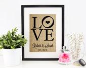 Engagement Gift for Couple | Bridal Shower Table Decor | Wedding Shower Decoration | Burlap Print | Party Decor