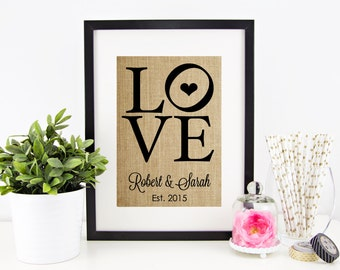 Engagement Gift for Couple | Bridal Shower Table Decor | Wedding Shower Decoration | Burlap Print | Party Decor