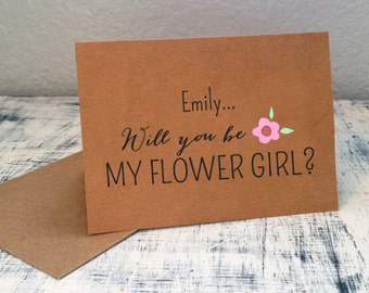 1 Will You Be My Flower Girl card - personalized with flower girl name in front and wedding date on back