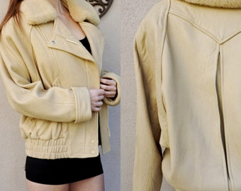 Vintage Brown Leather Jacket, Tan Leather Coat, Moto Leather Jacket, Winter Coat with Sherpa Collar