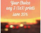 DISCOUNT SALE - Any three 5x7 Prints 25% off