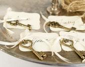 Key Escort Card for your Wedding Reception, Vintage Skeleton Key Place Card Favor