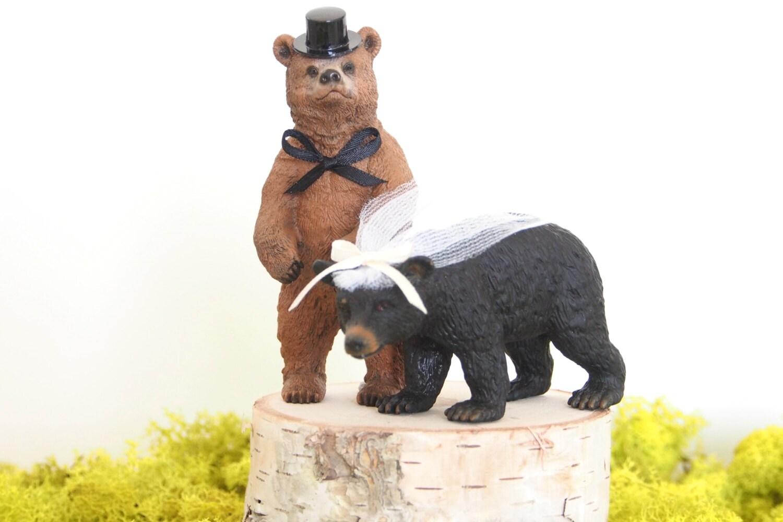 Bear Wedding Cake Topper Woodland Wedding by FairyfolkWeddings