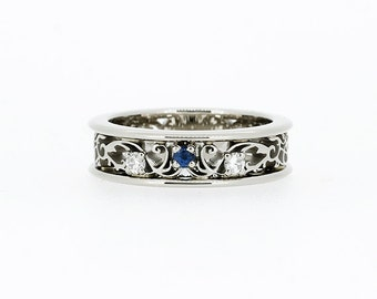Blue sapphire ring, white gold, wedding band, Diamond ring,  sapphire wedding, filigree ring, blue wedding, engagement ring, lace