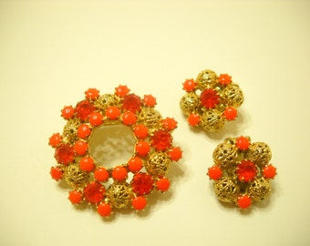 Vintage Orange Rhinestone Demi Parure (4492) Brooch & Clip Earrings