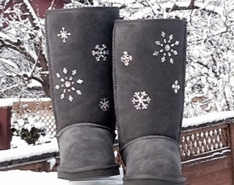 Holiday Christmas Snow Flakes Swarovski Crystal Custom Classic Tall Ladies Rhinestone Fashion Cold Weather Winter Boots