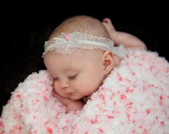 "Newborn Baby Blanket Pink Baby Blanket White Baby Blanket Newborn Photo Prop Newborn Photo Shoot Baby Girl Blanket 17"" x 17"" Cotton Candy"