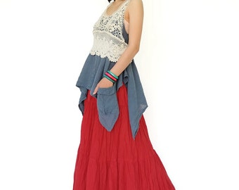 NO.5 Red Cotton Gauze, Hippie Gypsy Boho Tiered Long Peasant Skirt
