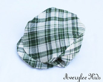 FLASH SALE Boys Newsboy Hat, Green Plaid or Brown Plaid Newsboy Cap, Boys Flat Top Hat, Driving Cap, Boys Golf Hat, Photo Prop, Ring Bearer