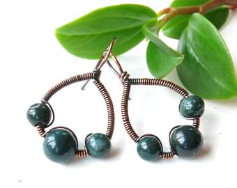 Green bloodstone earrings - copper wire wrapped gemstone bead hoops