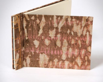Hand Made Journal/Sketchbook / Hand Dyed Linen Shibori Cover in Rose and Brown with Japanese Binding