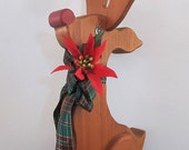 Vintage Wooden Rudolph Red Nosed Reindeer Christmas Decor