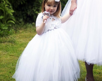 Flower Girl Dress White tutu dress baby dress toddler birthday dress wedding dress