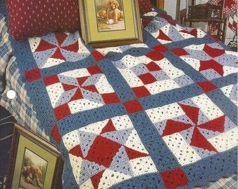 Patchwork Sampler Quilt - Annie's Crochet Quilt & Afghan - Pattern Crochet Quilt Blanket Afghan, Bedspread, Home Decor, Bedding, Throw