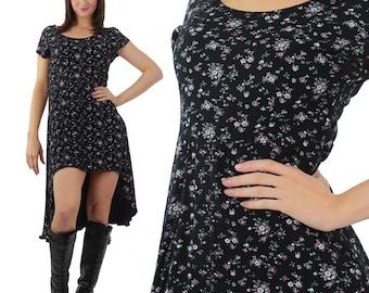Mini floral high low Dress Vintage 1990s mini Floral Dress Hi low 90s Waterfall dress Black mini floral fishtail dress Gypsy U neck M Medium