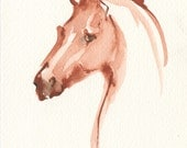 "Horse Art, Painting, Original Watercolor by Anna Noelle Rockwell, ""The Red Mare"""