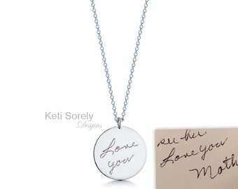 Custom Handwriting Necklace, Engrave Your Name, Message or Signature on Charm Pendant - Sterling Silver, Yellow or Rose Gold