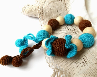 Wooden beaded Teething toy Tuquoise brown Crochet teether Wooden beads rattle Natural teether Wooden teething toy with pendants