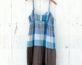 Upcycled Sundress , womens dress , Blue and brown plaid , womens size large recycled repurposed shabby mori girl clothes by wearlovenow
