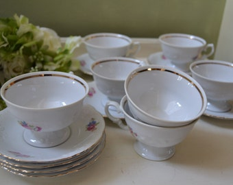 7 Vintage CHINA Cup and Saucers WAWEL Pink Roses WAV11 Made in Poland Gold Trim