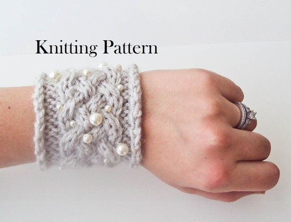 Knitting Pattern - Knit Fancy Braid Cuff Bracelet Gray Yarn Cream Swarovski Crystal Pearls