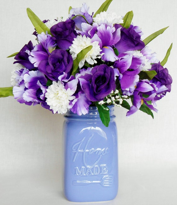 Artificial Flower Arrangement Purple Iris Purple Rosebuds