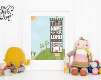 INSTANT DOWNLOAD, Scripture Printable, Proverbs 18:10, Strong Tower, Names of God, No. 122