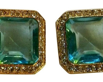 HOBE Vintage Blue-tinted Emerald and Clear Rhinestone Post-Style Earrings -  Signed and Brand New on Original Card