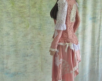 Boho skirt Crean / dusty peach colored new and vintage lace and  satin gypsy skirt handmade satin rose sheer fabric bow