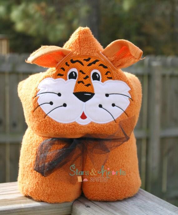 Tiger Towel- Tiger Hood Towel- Tiger Hooded Towel- Custom Tiger Towel- Personalized Tiger Towel- Kids Tiger Hoodie- Custom Towel