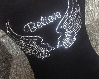 Believe Shirt, Angel Wings Shirt, Rhinestone Wings, Rhinestone Tshirt, Custom Shirt