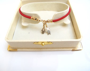 14k solid gold red string kabbalah hamsa evil eye boy girl charm pendant bracelet for luck and protection amulet