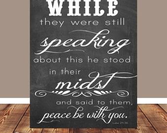 Bible verse, Scripture Art, scripture printable, Peace be with you, Luke 24:36, printable, Printable, Chalkboard, Wall art printable