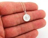 Sterling Silver Saint Christopher necklace christian jewelry charm pendant with 925 sterling silver chain (N-10)