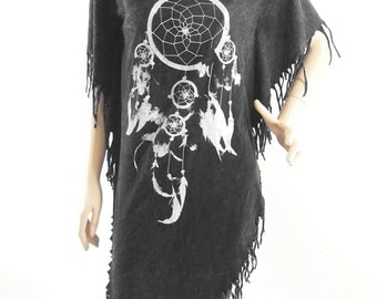 Feather Tshirt Dream catcher Hippie  Maxi Dress Poncho Tassel Dress  bleached tshirt black shirt (Measurements - fits great from S - M)