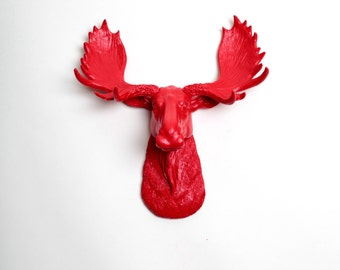 White Faux Taxidermy -The MINI Rosie - Mini Red Moose Head Wall Mount - Chic 3D Home Wall Art & Hanging Sculptures by White Faux Taxidermy