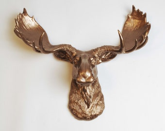 Faux Taxidermy Moose Head - The Cola in Bronze - Resin Moose Head - Faux Metal Wall Art & Hanging Ornaments by White Faux Taxidermy