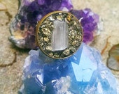 Selenite and Crushed Pyrite Boho Ring // Statement Crystal Circle Ring