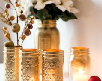 Gold Painted Mason Jars Candle Holder Gold Quilted Home Decor Holiday Centerpiece