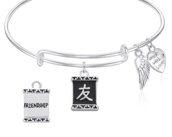 Friendship Expandable Wire Bangle Bracelet with Chinese Friendship Symbol Silver Finish Gift Boxed