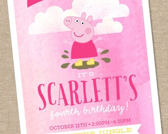 Peppa Pig Birthday Invitation // muddy puddle // fairy - 5x7 Printable
