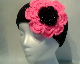 Crochet Ribbed Headband with Flower, Black Sparkle, Hot Pink Flower, Ear Warmer, Fall and Winter Accessory, Teen, Adult, Women