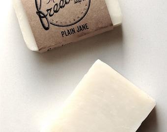 Plain Jane Soap. Palm-Free Soap. Cold Process Soap. Vegan Soap. Unscented Soap. 100% Natural.