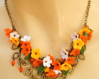 Statement Necklace, Orange Necklace, Spring Necklace, Flower Necklace, Minimal Necklace, Orange Jewelry, Women Gift, Handmade Necklace