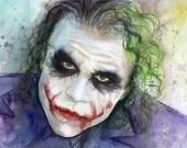 The Joker Art Print Joker Wall Art Joker Painting Heath Ledger Portrait Dark Knight Joker Watercolor Comics Illustration Why So Serious