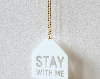 Necklace with pendant, Stay With Me, for lovers, romantic, house, white