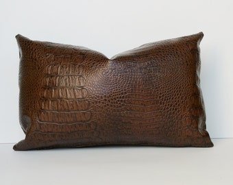 Faux Croc Pillow Cover Dark Brown 14 x 24, 12x 18, 16 x 16 Square, Lumbar, Many Sizes