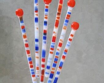 Set of 6 Large Swizzle Sticks - Orange, Blue, White & Red - Fused Glass (SS029)