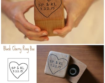 Wedding Ring Box- Personalized Ring Box- Rustic Wedding Wood Ring Bearer - Hand Engraved- Custom design of your choice